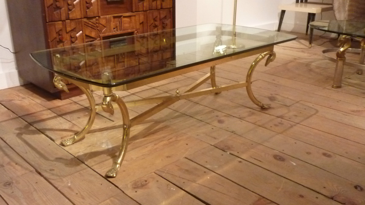 Fu 036 Labarge Coffee Table Brass Glass Furniture Apostrophe Co